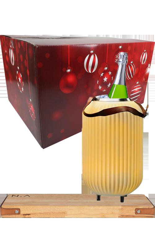 Het perfecte cadeau tijdens de feestdagen met The.Lampion S, The.Board Rubberwoord en een fles Cava.
